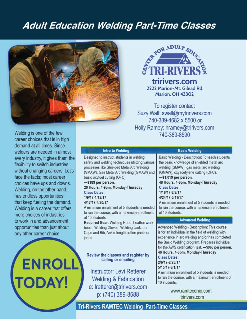 , New Welding Classes in Tri-Rivers RAMTEC, Ramtec of Ohio