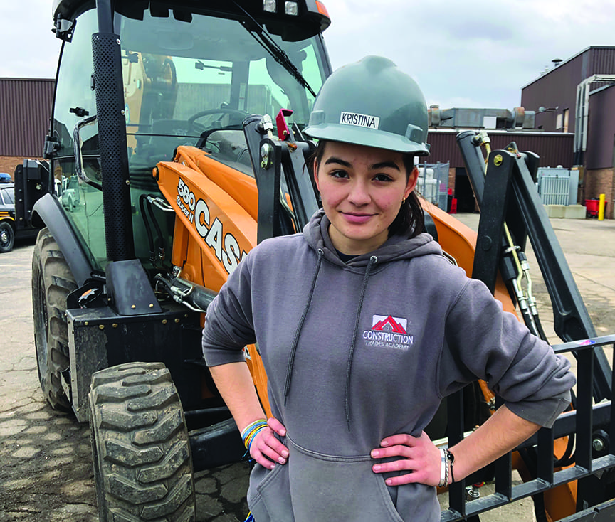 Kristina in Construction Trades Academy working