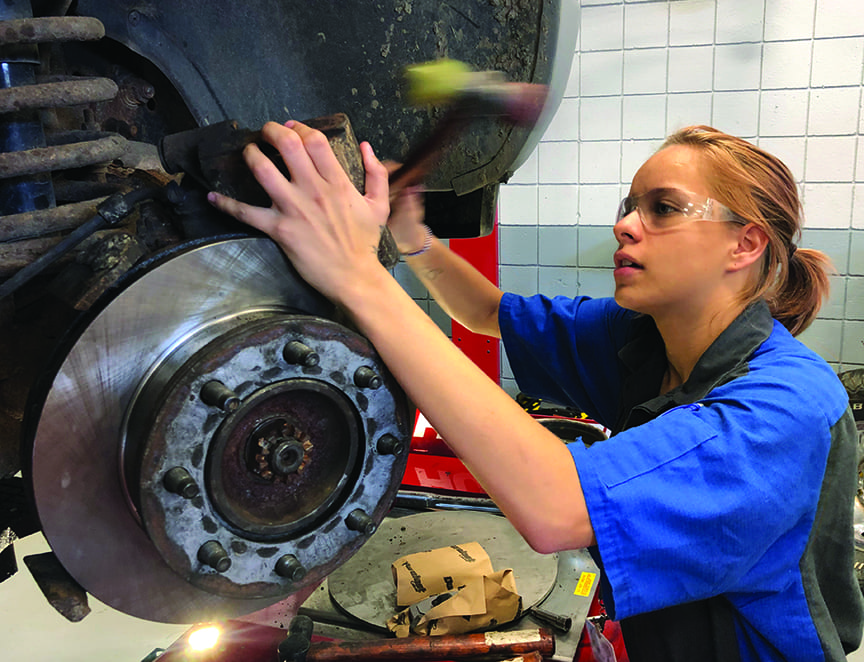 Auto Tech student working