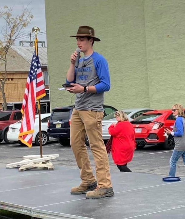 Max Russell leads a contest at the Drug Free Hire Me Rally in downtown Marion OH