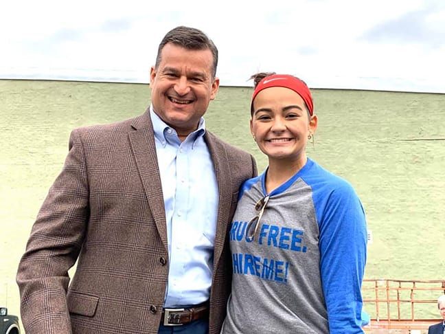The Marion Mayor Scott Schertzer and Kristina Lee at the Drug Free Rally