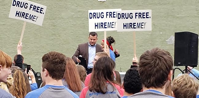 Drug Free Hire Me Rally in downtown Marion Ohio